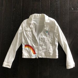 Mother White Denim Jacket W Rainbow